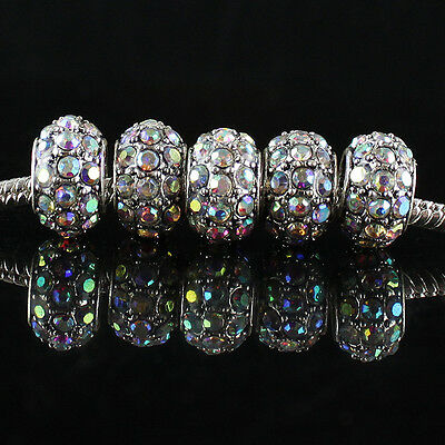 5X Clear AB Crystal Loose Charms Beads Big Hole Fit European Bracelet Necklace