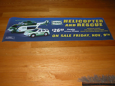 """HESS 2012 HELICOPTER AND RESCUE VERTICAL VINYL POSTER  32/"""" WIDE X 19/"""" HIGH"""