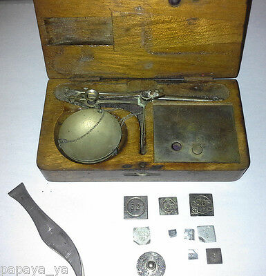 Vintage balance-apothecary-gold-jewelers scale including weights. pocket/mini