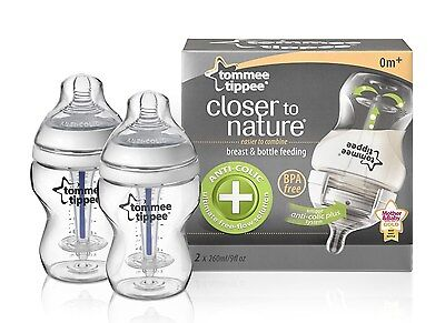 Tommee Tippee Closer to Nature 260 ml/9fl oz Anti-Colic Plus Feeding Bottles ...