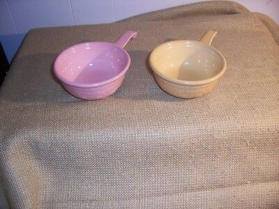 2 Vtg Genuine TST Oven Serve Ware Handled Soup Casserole Bowls Yellow Pink USA