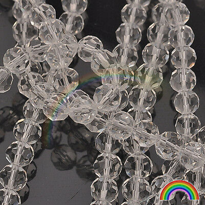 20PCS 8MM Transparent White Faceted Swarovski Crystal GLASS Loose Beads ~ CA5000