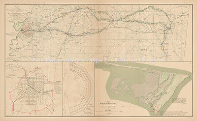 Meridian Mississippi Civil War Antique Map 1895 circa Original