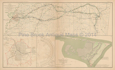 Meridian Mississippi Civil War Antique Map 1895 Original