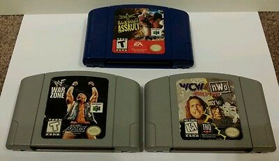 Wwf War Zone, WcW vs. NWO World Tour and Back Stage Assault N64 game lot