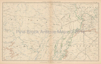 Tennessee Illinois Civil War Antique Map 1895 Original