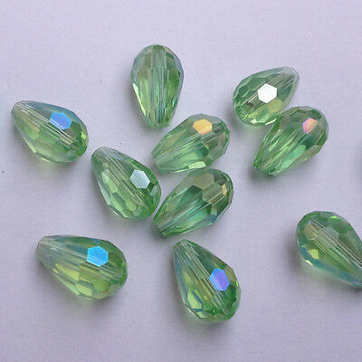 20pcs 8x12mm Teardrop Glass Faceted Loose Crystal Spacer Beads apple green AB~@