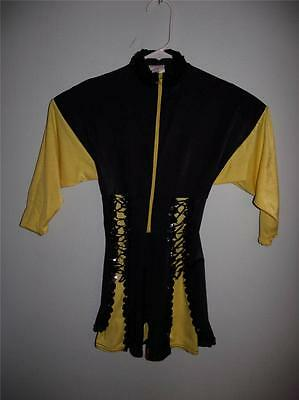 Yellow & Black Dance Costume Pageant Size Child Large Sequins Lace-Up Ethnic
