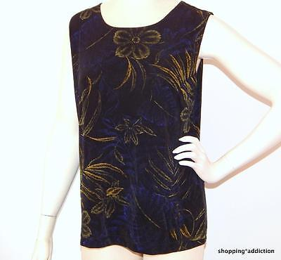 Chicos Travelers Sz 2 M Black Tropical Floral Print Slinky Tank Top