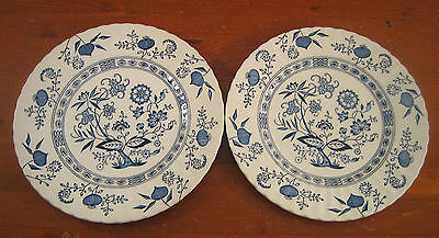JG Meakin Blue Nordic 2 Dinner Plates Classic White Swirl Ironstone England