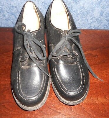 ANTIQUE LADIES SHOES SIZE 5 D/A BLACK LEATHER RUBBER GOOD YEAR HEAL TAP VINTAGE