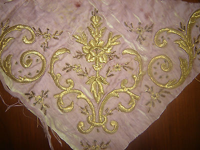19th ANTIQUE OTTOMAN-TURKISH GOLD METALLIC HAND EMBROIDERED FRAGMENT