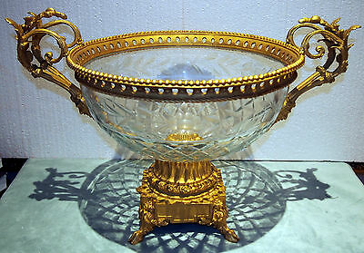 Baccarat Crystal   & Gilt Bronze  French  19C  Center-Piece Figurin Heads  W=19""