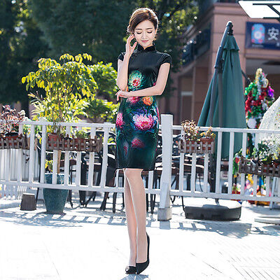 Chinese Cheongsam Cheong-Sam Qipao Dress w Peony Flower -fast ship from IL USA