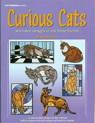 CURIOUS CATS Stained Glass Pattern Book, Stained Glass Cat Panels