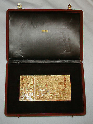 YUGOSLAVIA - 200 years of Hop Growing 1970 - Gold plated Plaque in Original box