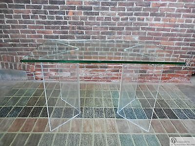 """Vintage Mid Century 3/4"""" Thick Lucite & Glass Dining Table or Writing Desk"""