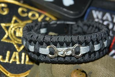 1 Of 2 Thin Silver Line 550 Paracord Bracelet With Hidden Handcuff Key The Backup