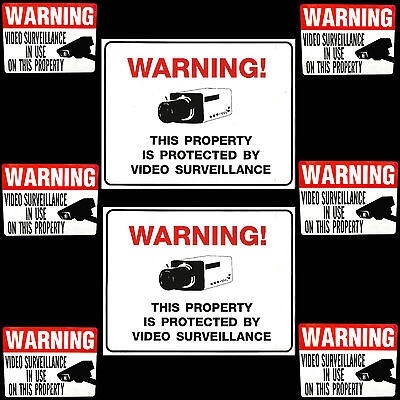 VIDEO CCTV SPY CCD SECURITY SPY CAMERAS IN USE WARNING SIGNS+WINDOW STICKERS LOT