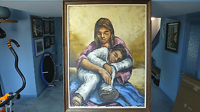 "Lge. Oil on Canvas by Listed Calif. Artist Primitivo Suarez --""Mother and Child"""
