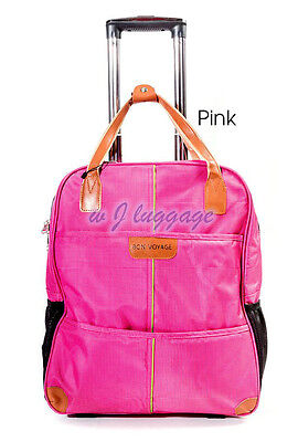 "Pink 20""rolling duffle bag carry on luggage travel bag in-line skate wheels"