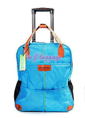 "Blue 20""rolling duffle bag carry on luggage travel bag in-line skate wheels"