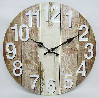 34cm Wall Clock Rustic French Provincial Country Brown Tan Boards Aged