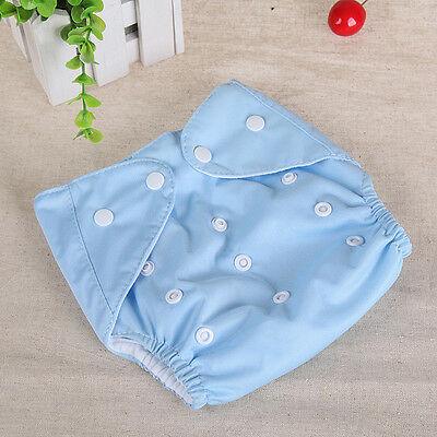 2015 Newborn Baby Cloth Diaper Cover Adjustable Reusable Washable Nappy Blue