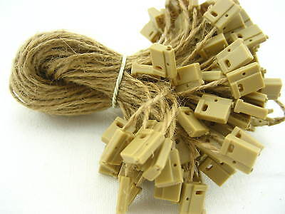 JUTE twine square end tag hang String Lock Fastener Labeling Tagging Supplies