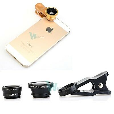 Black Fisheye + Wide Angle Marco Lens Camera Kit w Clip for iPhone 6 4S 5 5S 5C