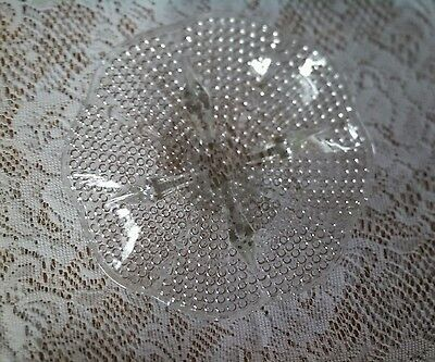 Vintage Clear Glass Footed Hobnail Teardrop Candy Nut Relish Dish Scalloped Edge