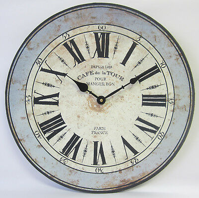 38cm New Country Rustic French Provincial Cafe De La Tour Wall Clock