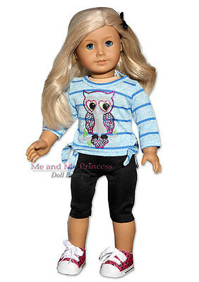 BLUE Owl Top + Leggings + Sequin Sneakers clothes fits American Girl Doll only