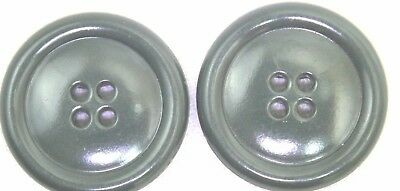 """US Sage Green Plastic Overcoat Buttons 1 1/8"""" 28mm 45L lot of 2 B7260"""