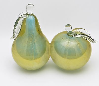 Vintage Barbini Murano Gold Aventurine & Blue Sommerso Glass Fruit  Book Ends