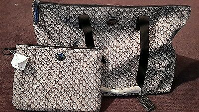 COACH 2 PC. $148 Multi-Use GRAY/BLK WEEKENDER F77461 TOTE TRAVEL GYM DIAPER NWT!