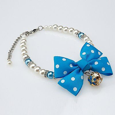 New Blue Ribbon Bell Beaded Chihuahua Cat Pet Dog Puppy Collar Necklace Size M