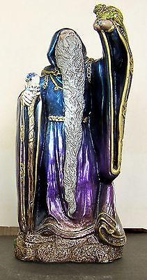 Vintage Pena  Wizard with Crystal Ball and Dragon  -- Blue to Violet
