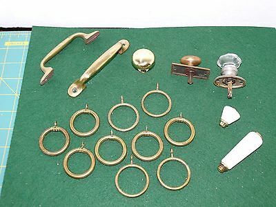 Vintage Brass Cabinet Drawer Knobs AND Brass Hoop Rings