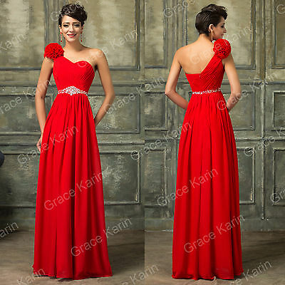 SUMMER RED+Chiffon Sexy Beaded One Shoulder Cocktail Prom Gown Bridesmaid Dress