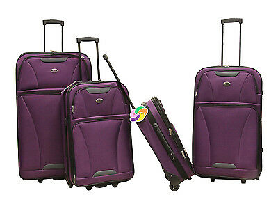 Purple 4 piece Expandable Lightweight Rolling Softside Luggage Set