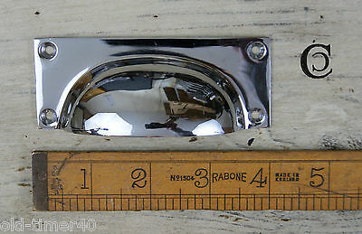 1 x SQUARE CHROME ON BRASS CUP HANDLE POLISHED KITCHEN DRAWER 100mm Cabinet Pull
