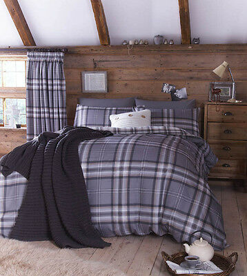 Catherine Lansfield KELSO Charcoal Grey Tartan Cosy Reversible Christmas Bedding