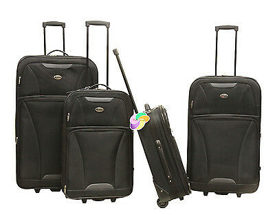 Black 4 piece Expandable Lightweight Rolling Softside Luggage Set