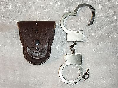 "Original RUSSIA RUSSIAN POLICE handcuffs ""BRS-1"" + genuine leather Case"
