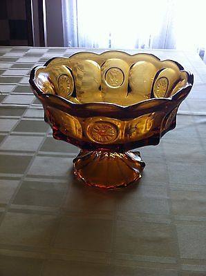 Fostoria Amber Coin Glass Large Pedestal Open Compote