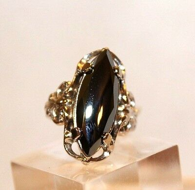 "sz 8 Hemitite - Black Diamond 3/4"" long Vintage Estate Sterling Silver ring"
