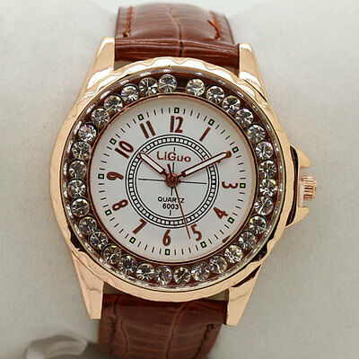 Newest Grace Classical  Round Dial Crystal  Quartz Wrist Watch Women Gifts Q1133