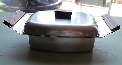 Mid Century Modern 18/8 Stainless Steel Butter Cheese Dish Wood Handles