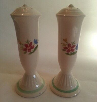Vintage Retro Mid Century Tall Ceramic Salt and Pepper Shakers Green Band Trim
